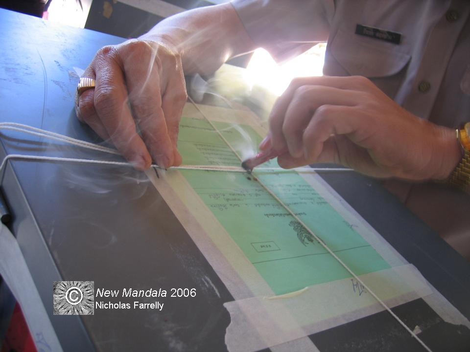 Sealing a Ballot Box, Thailand, February 2005