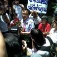 Somsak Jeamteerasakul was warmly cheered up by a hundred or so supporters during his appearance yesterday at the Nang Lerng Police Station to hear a lese majeste charge regarding his […]