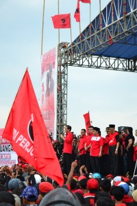 Jokowi gives his pep talk in Malang.