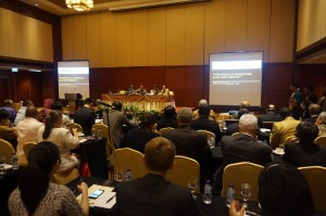 "At a seminar held on 25 August at Jakarta's Borobudur Hotel, Deputy Minitser for Foreign Affairs Dino Patti Djalal and head of Anti-Terrorism Body BNPT Anshyaad Mbai explain to foreign diplomats how Indonesia views the ""ISIS threat"". Photo: Dominic Berger"