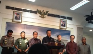 "In early August a senior line-up of ministers announces that ISIS is ""banned"" in Indonesia. Photo: Jakarta Globe"