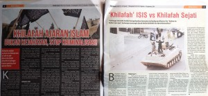 The September issue of MediaUmat, a Hizbut Tahrir publication, focused on explaining the difference between the 'ISIS Caliphate' and the 'Genuine Caliphate'. Photo: Dominic Berger