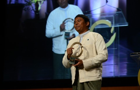 Activist-journalist Myint Zaw has won the 'Green Nobel' for his campaign to save Myanmar's Irrawaddy river through art.