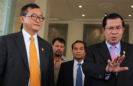 Sam Rainsy (left) and Hun Sen in happier times. Photo: Wikimedia commons