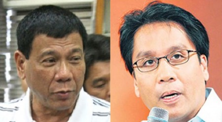 Duterte (right) and Roxas.