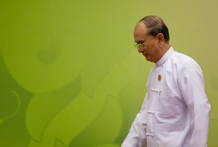 Myanmar President Thein Sein leaves after delivering the opening address at this month's ASEAN summit. Photo by AFP.