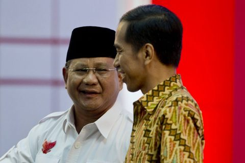 Retreating from the world? Indonesia presidential candidates Prabowo (left) and Jokowi. Photo by AFP.