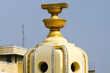 December 10th is Constitution Day in Thailand. It commemorates the signing of the constitution in 1932 that made the Kingdom into a Constitutional Monarchy.This is the centre of the Democracy Monument. A representation of the 1932 Constitution sits on top of two golden offering bowls above a round turret.