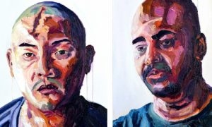 Myruan Sukumaran (right), self portrait and portrait of fellow Australian death-row inmate, Andrew Chan. Image by Ben Quilty.