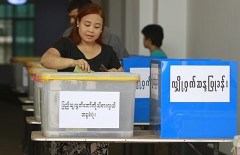 A woman votes in Myanmar's 2012 by-election. Photo from Wikimedia commons.