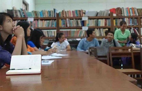 Students from the University of Yangon. Photo by Olivia Cable.