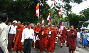 Monks march during Myanmar's Saffron revolution. Photo: Wikimedia commons