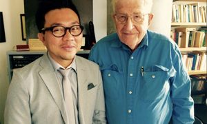 Pavin Chachavalpongpun (left) and Noam Chomsky. Photo supplied.
