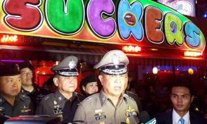 Somyot Pumpanmuang, speaks to reporters about the Bangkok blast investigation in front of a popular go-go bar тАЬSuckersтАЭ . Photo: Royal Thai Police