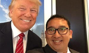 Deputy Speaker of the House Fadli Zon poses with Donald Trump during a tour of the US. The meeting last month caused much controversy in Indonesia. Photo: @fadlizon on Twitter