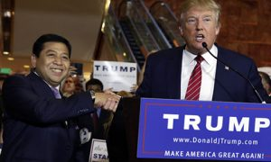 Republican presidential candidate Donald Trump, right, introduces Setya Novanto, Speaker of the House of Representatives of Indonesia, during after a news conference at Trump Tower. Photo: AP/Richard Drew