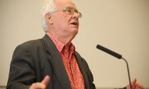 Benedict Anderson and Dr. Niall ├У Dochartaigh at NUI Galway  Photograph by Aengus McMahon