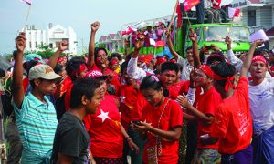 A NLD rally in Naypyitaw. Photo: Olivia Cable