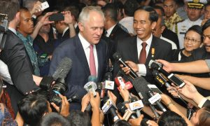 Australian PM Macolm Turnbull meets with Indonesia President Joko Widodo.