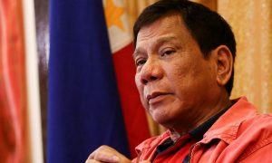 "Philippines' president-elect Rodrigo Duterte speaks during a press conference in Davao City, in southern island of Mindanao on May 26, 2016.  Explosive incoming Philippine president Rodrigo Duterte has launched a series of obscenity-filled attacks on the Catholic Church, branding local bishops corrupt ""sons of whores"" who are to be blamed for the nation's fast-growing population. / AFP / MANMAN DEJETO        (Photo credit should read MANMAN DEJETO/AFP/Getty Images)"