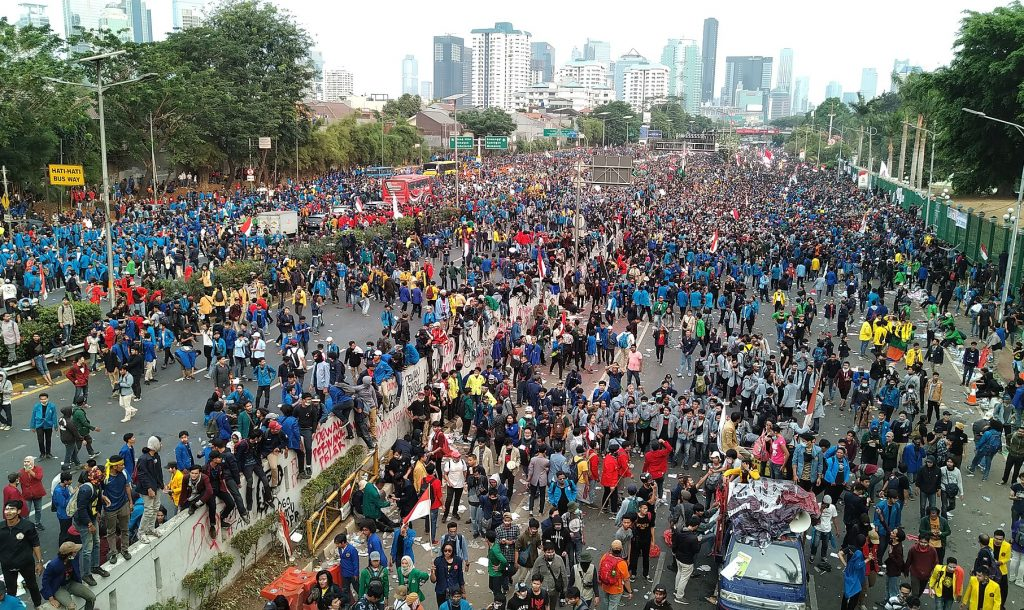A scene at Gatot Subroto street during the September 24 2019 Jakarta protests